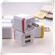 Colorful USB Mobile Phone Dual Charger For Samsung ,Hot Sale 100-240V 50-60Hz USB Charger for iPhone