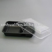 Nontoxic black plastic disposable airline food tray