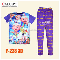 Boys Blue Upin & Ipin Clothing sets Kids 8-12Y Autumn -Summer Clothes New 2015 Wholesale Children Cartoon Pajamas Set F-228 3D