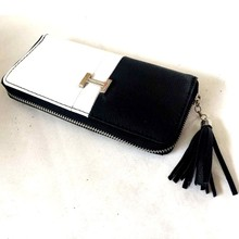 White and Black PU Patchwork Leather Tassel Ladies Purses