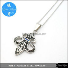 royal sword cross stainless steel pendant with blue stone of fashion jewelry MP-002