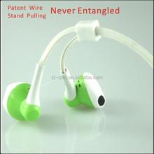 2014 new never entangled waterproof in-ear earphone with mic