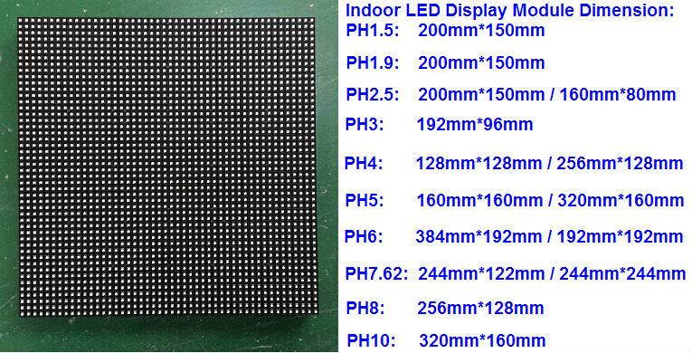Indoor led display module dimension