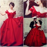 Satin and velvet red ball gown wedding dress CYW-034