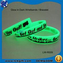 Fancy silicone bracelet silicone wrist band glow in dark