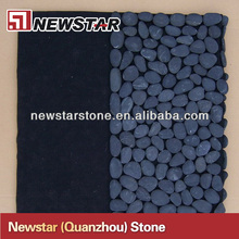 Black pebble stone shower mat
