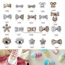 Hot sale shiny rhinestone 3d nail art decoration bow tie/Nail Arts design