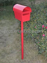 Red And Black Wrought Iron Mailbox/Letterbox With Post