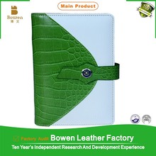 Bowen BWB-73/74 green and white A6/A5 crocodile leather student diary notebook/book for gift