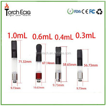 Hot selling e-cigarette co2 vaporizers 0.3ml/ 0.4ml/ 0.6ml/ 1.0ml/ available 510 thread atomizer