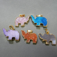 MU1509291371 Elephant Charm Druzy Agate Slice With Gold Plated Elephant Pendant