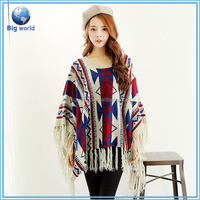 Custom sweater poncho, poncho sweater pullover Tassel design, Jacquard knitting sweater poncho/cloak