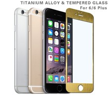 0.2mm Ultra Thin Titanium Alloy Full Cove Clear Gold Tempered Glass Screen Protector For Iphone