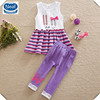 (SD6618) 2-6y 2 colors neat branded children's clothing sets sleeveless summer baby sets girls clothes sets