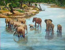 Painter Handmade High Quality Natural Scenery Elephant Crossing Oil Painting On Canvas For Living Room Wall Decoration Artwork