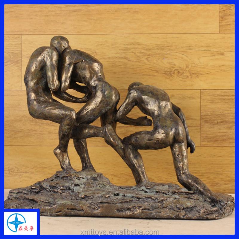 Estátua <span class=keywords><strong>de</strong></span> resina Cobre Abstrato Jogar <span class=keywords><strong>Golfe</strong></span> para Decoração