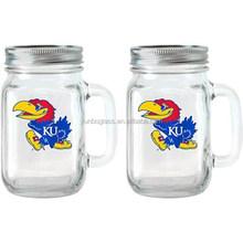 NCAA 16 oz Kansas Jayhawks Glass Jar with Lid and Handle