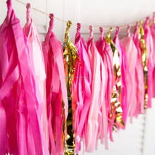 Tissue paper tassel garland for Hawaiian wedding party decoration