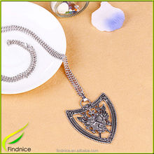 Shield Shape Vintage Zinc Alloy Metal Fashion Necklace