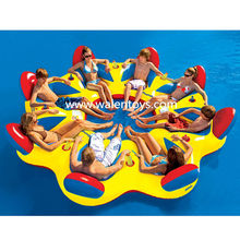 Inflatable Raft Party Boat Lake River 8 person Tropical Floating Island