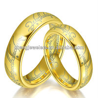 Gold Plated Comofort Fit The Lord of Ring Tungsten Ring