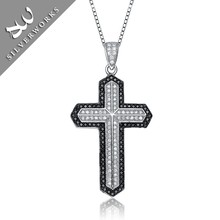 Solid Silver White and Black CZ Pendants,Large sterling silver cross pendant