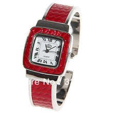 USS Women's Watch Roman Numbers Marks with Square Dial Steel and Leather Watch Band