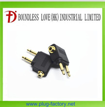 Gold airplane/airline travel 3.5MM audio headphone adapter