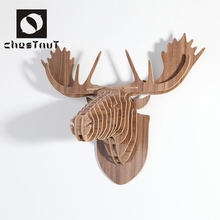 214 fashion modern wood carving animal deer heads house wall decor art craft