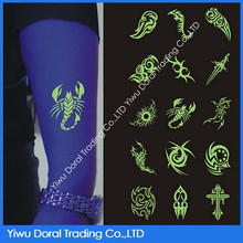 2015 hot sale temporary metallic glow in the dark body tattoo sticker