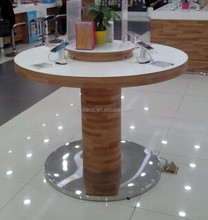 fashion design round shape wood display counter wood desk for mobile phone and accessories