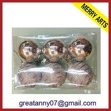 Gorgeous gold glitter christmas ball ornament 2015 wholesale fashion plastic christmas ball hanger