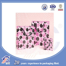 pink paper bag with ribbon handles wholesale,luxury shopping bag,OEM are accepted