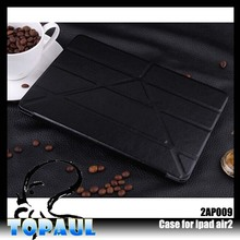3-fold leather case for ipad mini, hot selling leather cover with holder for iPad Air