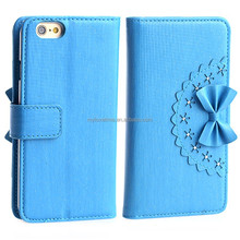 Multicolored Luxury leather cell mobile phone case book cover for iphone 6 with wallet card slots
