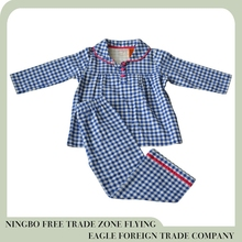 Ningbo Flying eagle hot sale checked flannel toddler girls sleepwear