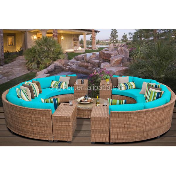 <span class=keywords><strong>14</strong></span> monoplazas circular patio Muebles de sección redonda con bebida tabla outdoor rattan sofa