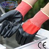 NMSAFETY red nylon liner 3/4 coated black nitrile gloves anti-oil safety gloves