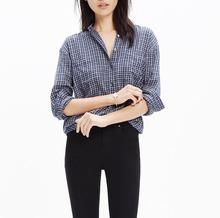Custom design elegant fashion twill slip on blouse printed new plaid shirt