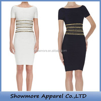 Style Number D281 black and white beading patterns casual bandage dress