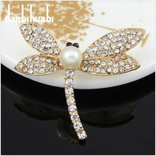 beautiful Unique Gold Plated crystal rhinestone Zircon Dragonfly Brooch gift Ag062-A