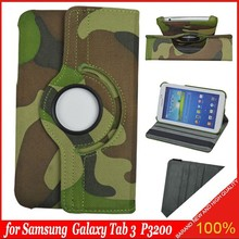 camouflage 360 Rotating PU Leather Stand Case Cover For Samsung Galaxy Tab 3\7.0 T210 T211 p3200