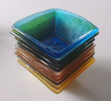 Machine Wash Colored Square Glass Soup Bowls For Hotels And Restaurants