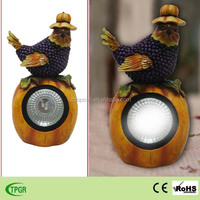 solar powered resin bird statue for harvest festival home and garden decoration