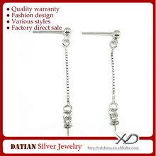 XD P254 Anallergic Long Chain Stud Earrings 925 Sterling Silver Earring Post
