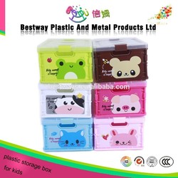 Hotsale cartoon plastic school storage box,clothing container