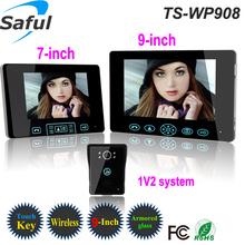 Hot selling 9''color wireless video door bell,alarm video intercom doorbell,wireless unlocking