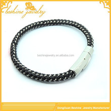 mixed steel wire and leather braided bracelets for men
