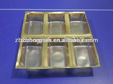 oro y plata de pvc rígido de cine para el paquete de ampolla como bandeja de chocolate