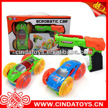 Hot Voice gun Battery Operated plastic toys 180 spins flip car toys double sided car
